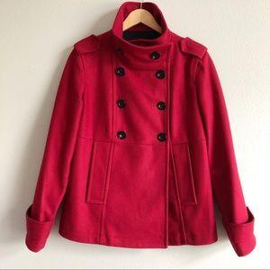 Gap Wool Pea Coat Red Size M